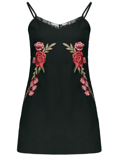 Floral Patched Mini Cami Dress - BLACK S Mobile