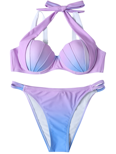 Ombre Color Mermaid Shell Halter Bikini - BLUE + PURPLE L Mobile