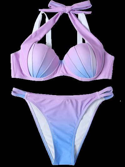 Ombre Color Mermaid Shell Halter Bikini - BLUE + PURPLE M Mobile