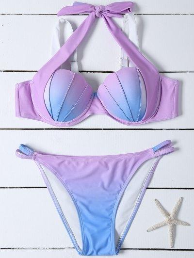 Ombre Color Mermaid Shell Halter Bikini - BLUE + PURPLE S Mobile