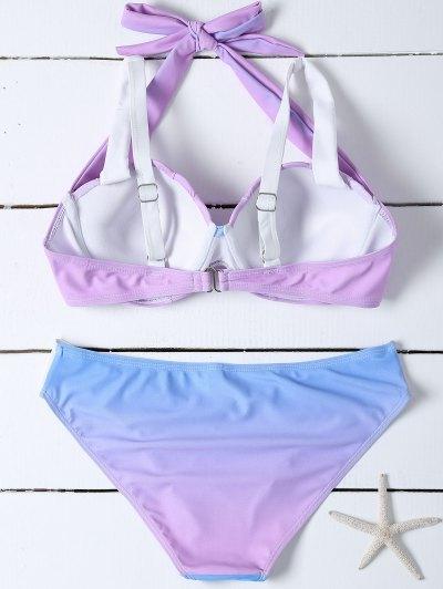 Ombre Color Mermaid Shell Bikini - BLUE + PURPLE L Mobile