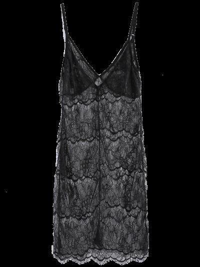 Sheer Lace Slip Babydoll Dress Lingeries - BLACK 2XL Mobile