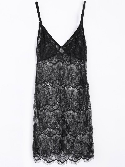 Sheer Lace Slip Babydoll Dress Lingeries - BLACK L Mobile