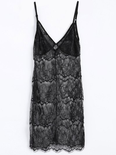 Sheer Lace Slip Babydoll Dress Lingeries - BLACK M Mobile