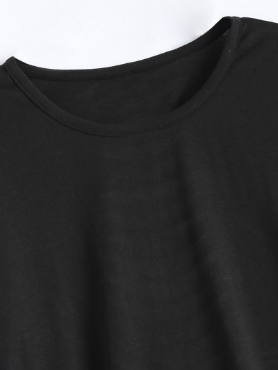 Short Sleeve Distressed Hole Tee - BLACK L Mobile