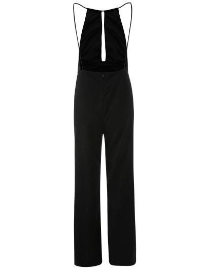 Plunge Keyhole Wide Leg Palazzo Jumpsuit - BLACK XL Mobile