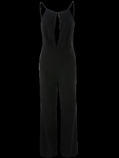 Plunge Keyhole Wide Leg Palazzo Jumpsuit - BLACK S Mobile