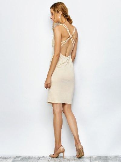 Strappy Backless Bodycon Dress - APRICOT XL Mobile