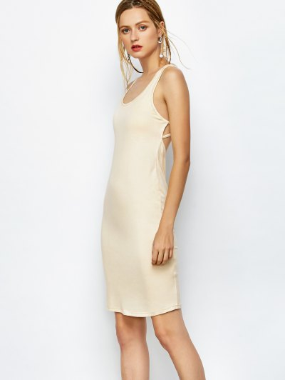 Strappy Backless Bodycon Dress - APRICOT L Mobile
