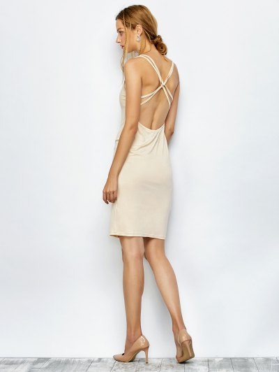 Strappy Backless Bodycon Dress - APRICOT M Mobile