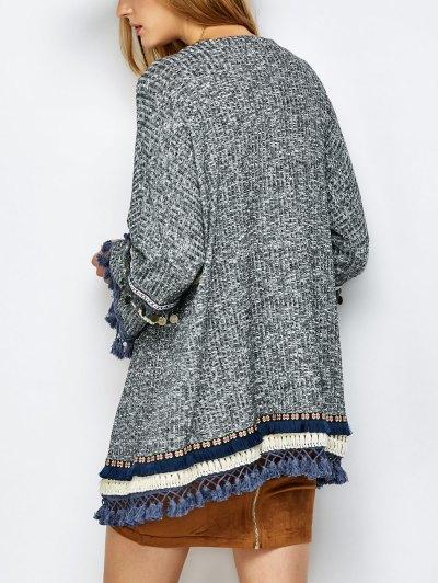 Marled Tasselled Boho Cardigan - GRAY L Mobile