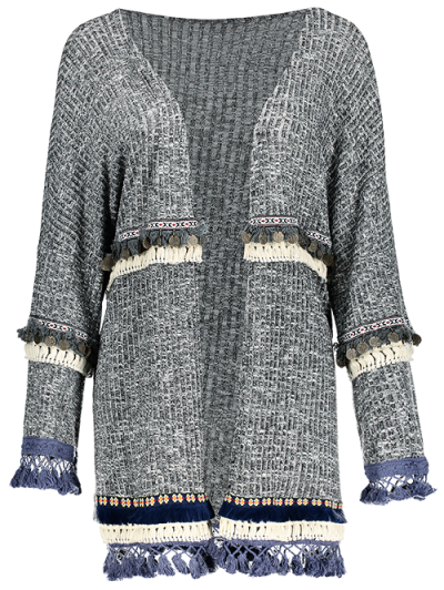 Marled Tasselled Boho Cardigan - GRAY M Mobile