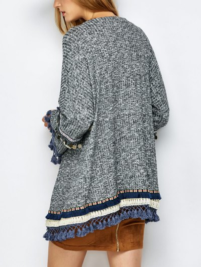 Marled Tasselled Boho Cardigan - GRAY S Mobile