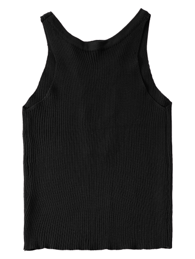Cropped Lace Up Sweater Tank Top - BLACK ONE SIZE Mobile