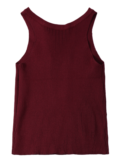 Cropped Lace Up Sweater Tank Top - WINE RED ONE SIZE Mobile