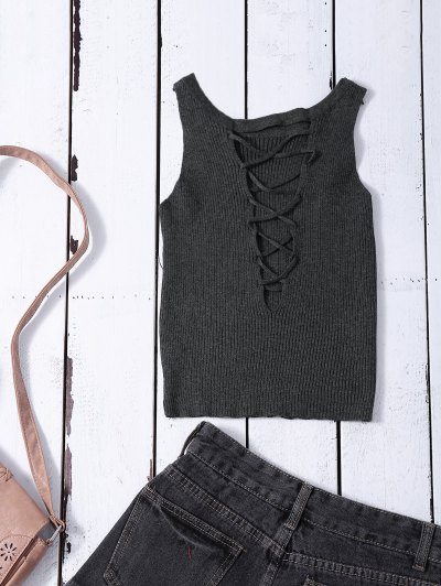 Cropped Lace Up Sweater Tank Top - GRAY ONE SIZE Mobile