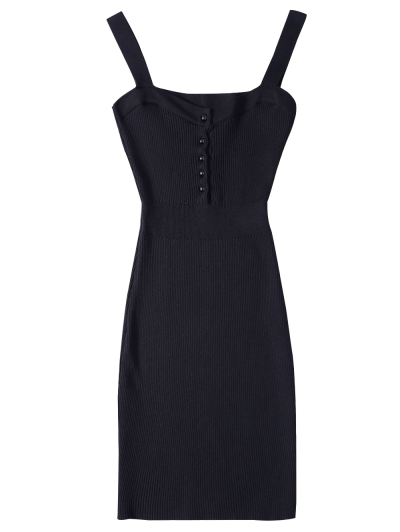 Wide Strap Bodycon Sweater Dress - BLACK ONE SIZE Mobile