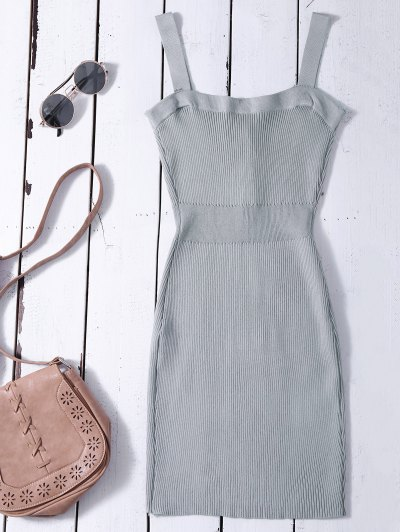 Wide Strap Bodycon Sweater Dress - GRAY ONE SIZE Mobile