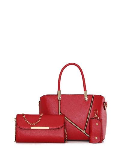 Metal Embellished Handbag Set - RED  Mobile