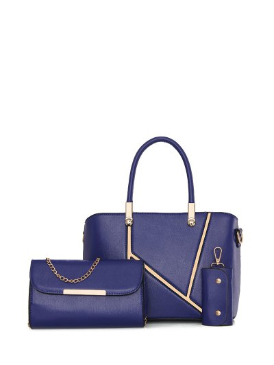 Metal Embellished Handbag Set - BLUE  Mobile