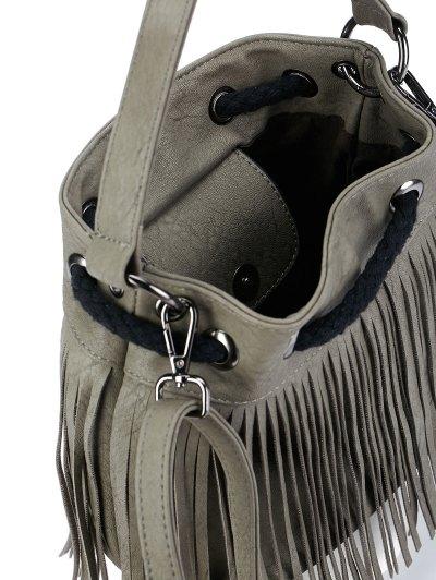 Fringe Drwstring Bucket Bag - GRAY  Mobile