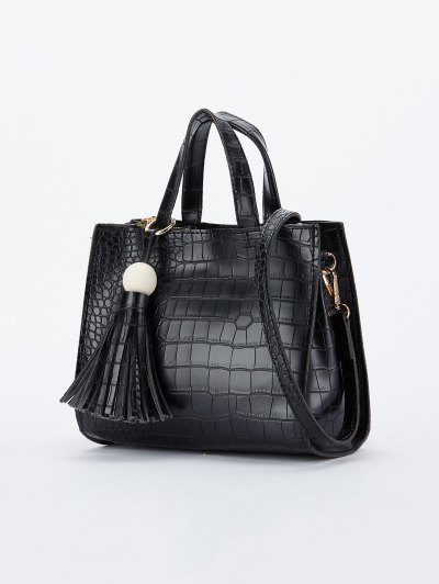 Crocodile Pattern Tassel Tote - BLACK  Mobile