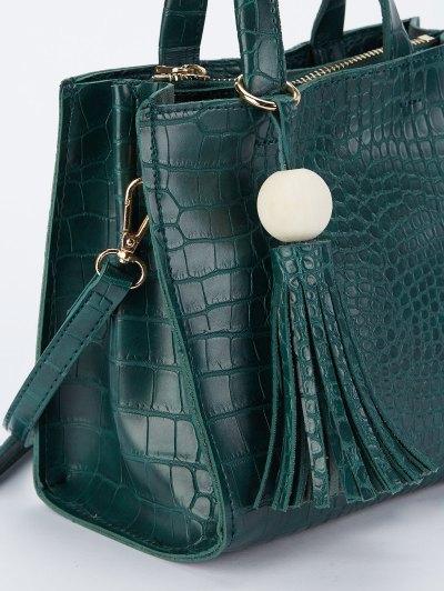 Crocodile Pattern Tassel Tote - GREEN  Mobile