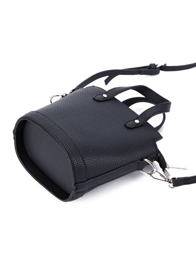 Textured Crossbody Handbag - BLACK  Mobile