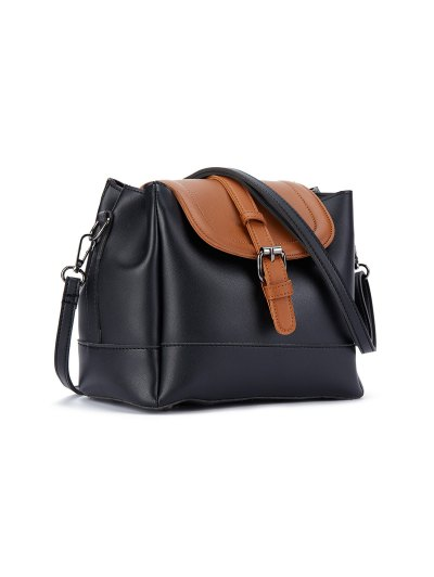 Buckle Strap Color Block Bucket Bag - BLACK  Mobile