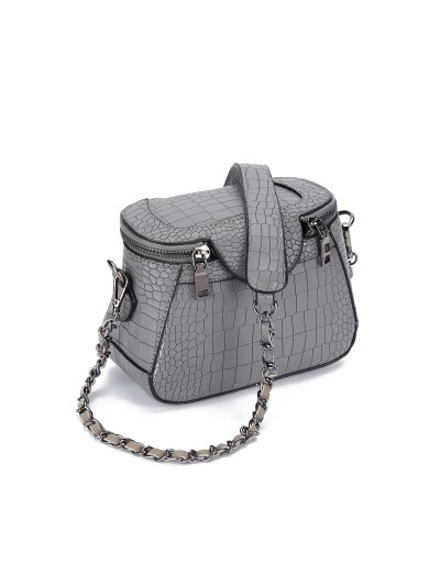 Chains Crocodile Pattern Cross Body Bag - GRAY  Mobile