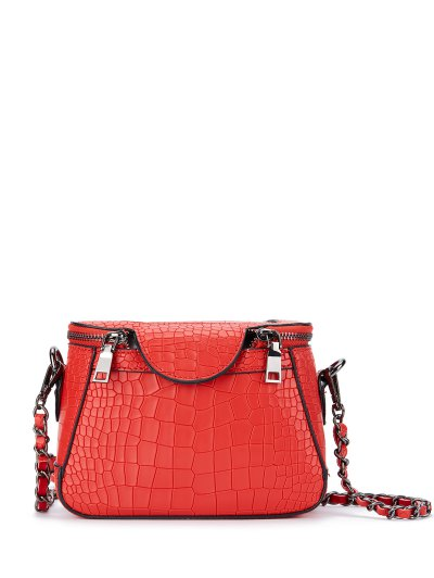 Chains Crocodile Pattern Cross Body Bag - RED  Mobile