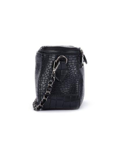 Chains Crocodile Pattern Cross Body Bag - BLACK  Mobile