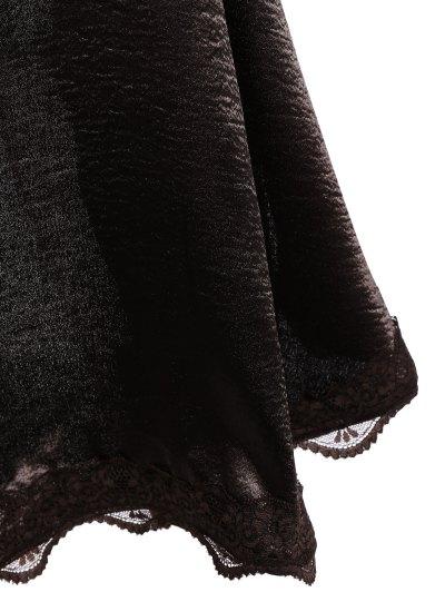 Lace Trim Slip Party Wear Dress For Women - DARK COFFEE L Mobile