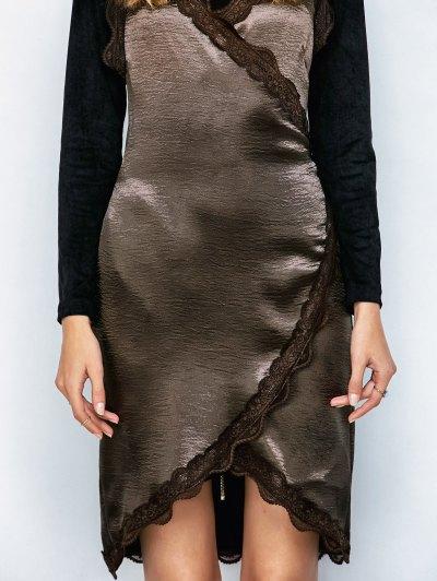 Lace Trim Wrap Slip Dress - DARK COFFEE M Mobile