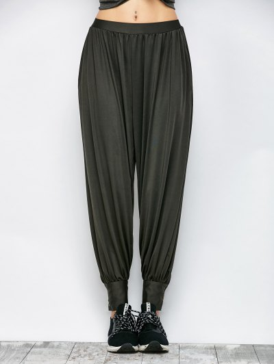 Loose Fit Harem Pants - DEEP GRAY M Mobile