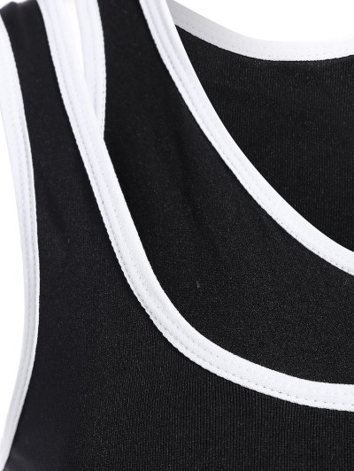 Layered Mid Impact Sports Bra - BLACK L Mobile