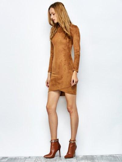 Back Zip Faux Suede Bodycon Dress - CAMEL M Mobile