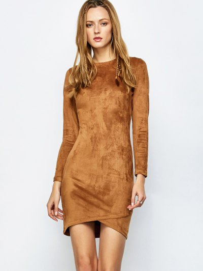 Back Zip Faux Suede Bodycon Dress - CAMEL S Mobile
