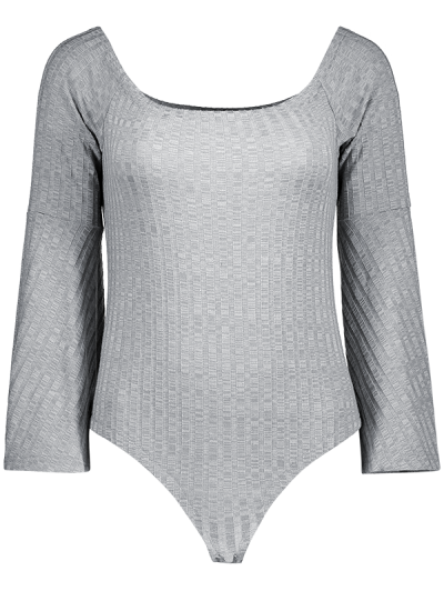 Off The Shoulder Flare Sleeve Bodysuit - GRAY 2XL Mobile