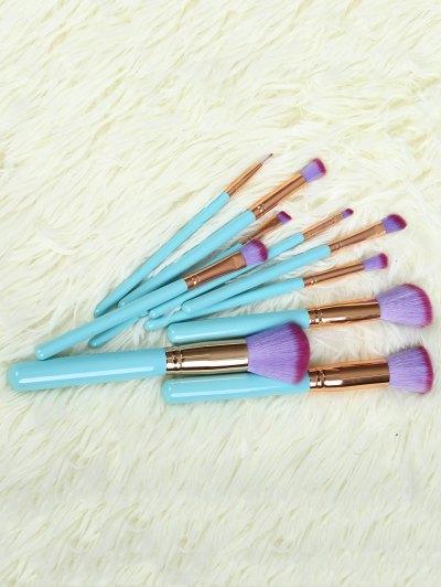 10 Pcs Scallop Makeup Brushes Kit - BLUE  Mobile