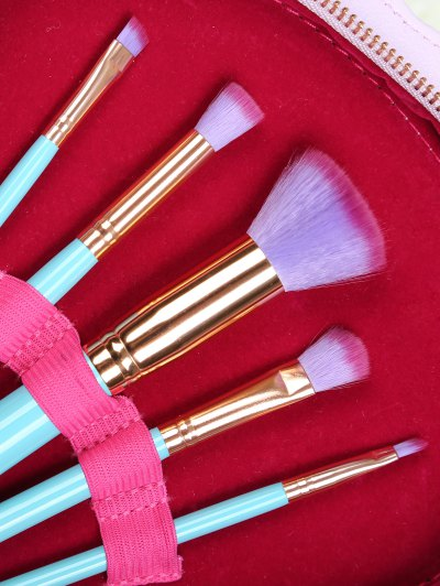 10 Pcs Scallop Makeup Brushes Kit - BLUE  Mobile
