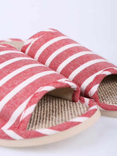 Linen Striped Cotton Fabric House Slippers - CLARET SIZE(37-38) Mobile