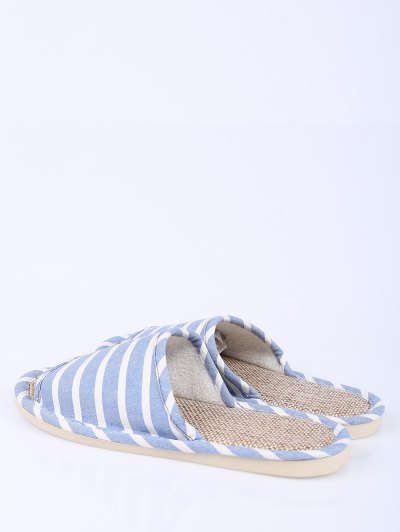 Linen Striped Cotton Fabric House Slippers - LIGHT BLUE SIZE(37-38) Mobile