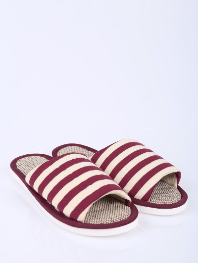 Stripes Linen Color Block House Slippers - CLARET SIZE(40-41) Mobile
