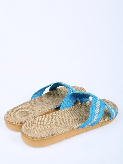Linen Color Block Cross Straps Slippers - AZURE SIZE(37-38) Mobile