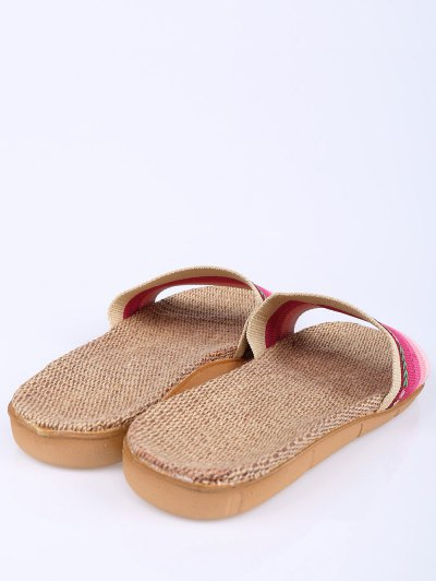 Flowers Ombre Striped House Slippers - PINK SIZE(37-38) Mobile
