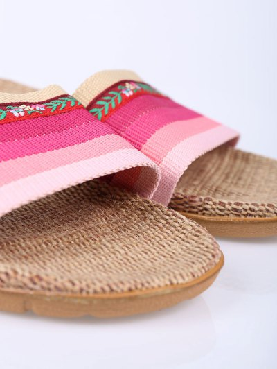 Flowers Ombre Striped House Slippers - PINK SIZE(39-40) Mobile