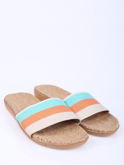 Striped Color Block Linen House Slippers - ORANGE SIZE(39-40) Mobile