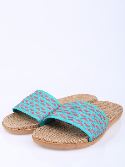 Geometric Pattern Linen Color Block House Slippers - LAKE BLUE SIZE(39-40) Mobile