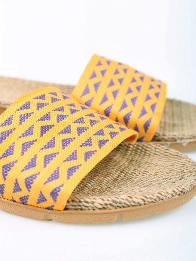 Geometric Pattern Linen Color Block House Slippers - YELLOW SIZE(37-38) Mobile